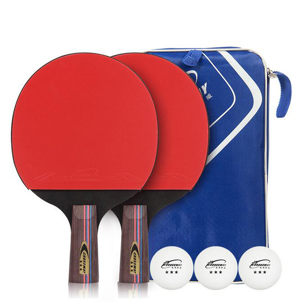 Crossway Bordtennis Rackets Gummi Ping Pong Paddle Dubbel Face Bordtennis Racket Set Med Bollar + Väska Lång / Kort Handtag