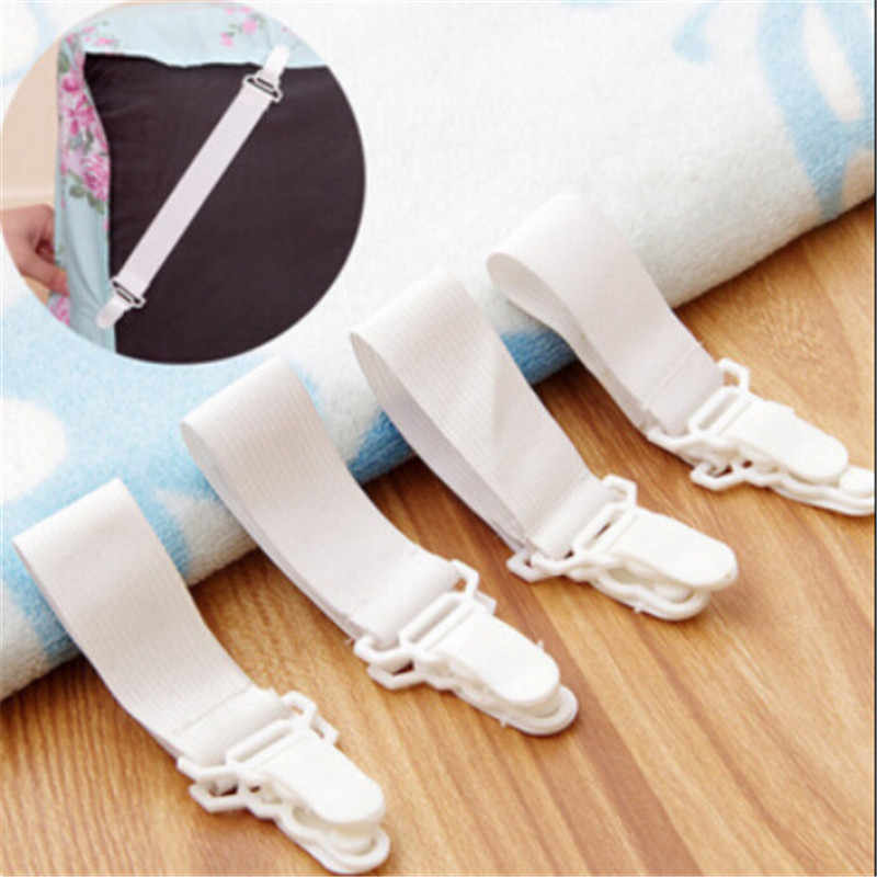 4PCS Bed Sheet Fasteners Mattress Cover Grippers Clip Holder Elastic Fasteners for satin sheet blankets