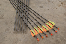 Free shipping 12 pcs/lot carbon arrow ID 4.2mm 30″ spine 700 fixed bullet point race practice shoot archery bow outdoor