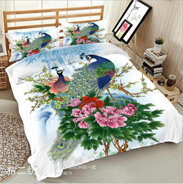 peacock 3d printed bedding sets double king queen twin size bed set soft bedclothes 4pcs bed sheet duvet cover home textile