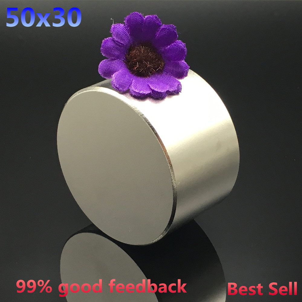 Free shipping 1pc Dia 50x30 mm hot round magnet 50*30mm Strong magnets Rare Earth Neodymium Magnet 50x30mm wholesale 50*30