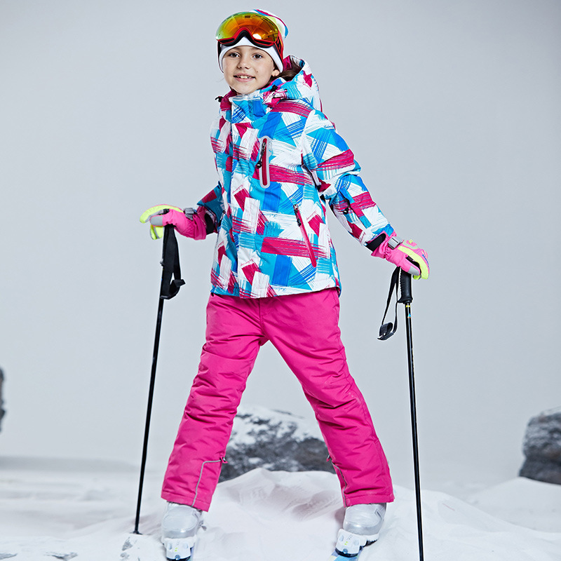 Boys Girls Kids Children Ski Suit Waterproof  Ski Jacket Snow Pants Thermal Boys Girls Winter Outdoor Hooded Clothes Costume Set