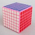 Shengshou Plástico 77mm Etiqueta Engomada DEL PVC 7x7x7 Velocidad Cubo Mágico Rompecabezas Juguetes Educativos Para Niños de Los Niños Baby-Rosa