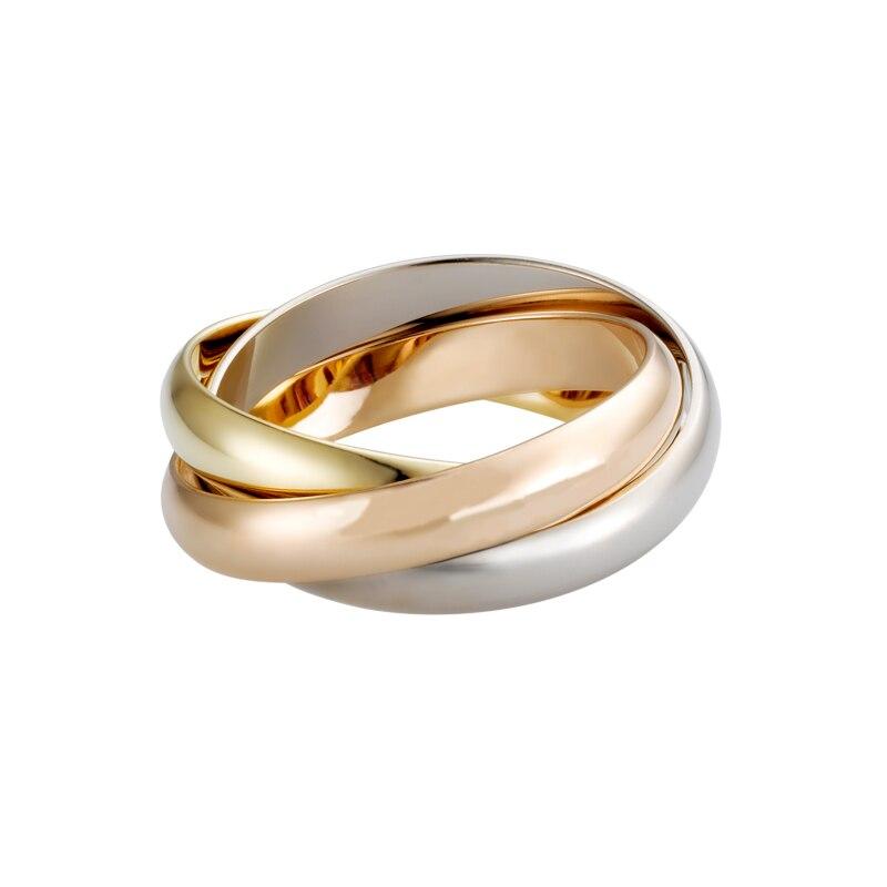 Titânio de Aço de Prata de Ouro Rosa de Carter Três Camadas Anéis Trindade para As Mulheres Meninas Wedding Bands Engagement Anillos Anel Anillos