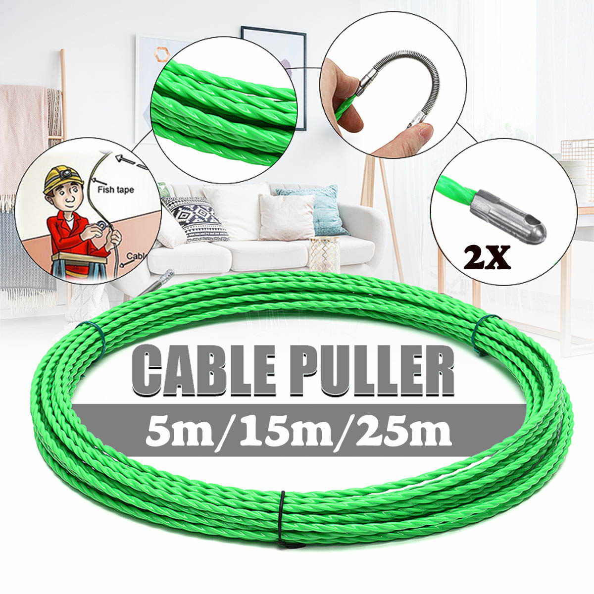 Fiber Glass Fish Tape Reel Puller 4mm*30m Fiberglass Electrical Wire Cable US