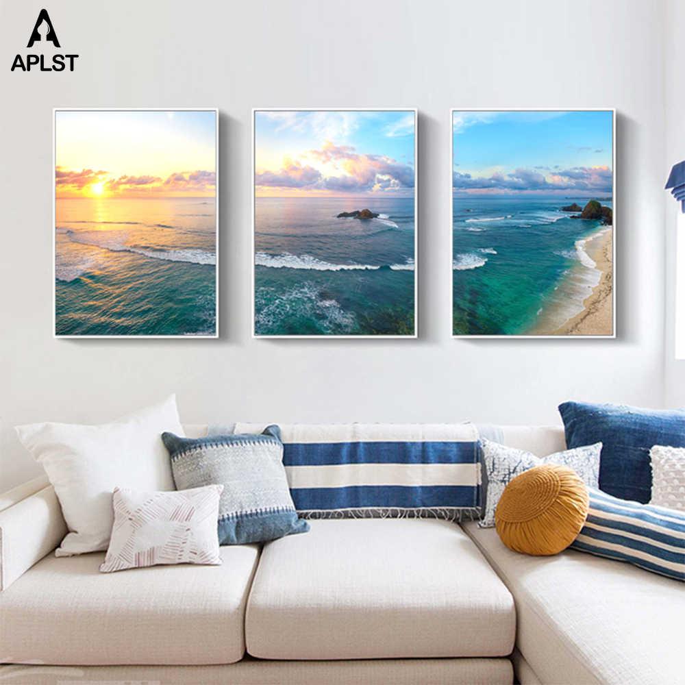 Permukaan Laut Ocean Sunrise Kanvas Lukisan Biru Awan, Langit, Pantai Cetak Pemandangan Laut Poster Modern Dinding Ruang Tamu dekorasi