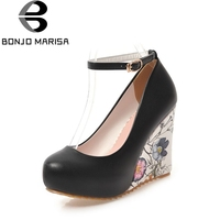 Bonjomarisa mujeres de tobillo Correa flor imprimir alto talón cuña Zapatos mujer 2018 nueva hebilla hasta plataforma Bombas tamaño grande 33-43