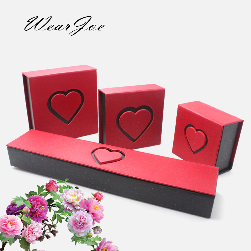 Top Grade Heart Shaped Jewelry Set Display And Packaging Gift Box Ring Pendant Necklace Bracelet Carrying Charm Case 4pcs/1lot