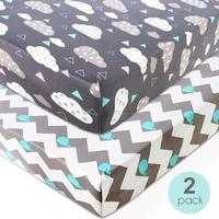 2 Pack Stretchy Crib Sheet For Boys Girls Universal Knit Fitted Cover Baby Toddler Bed Cover Baby Knitted Crib Sheet Set