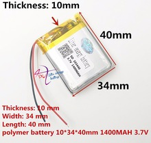 best battery brand Free shipping 3 7 V 103440 lithium ion polymer battery 1400 mah vehicle
