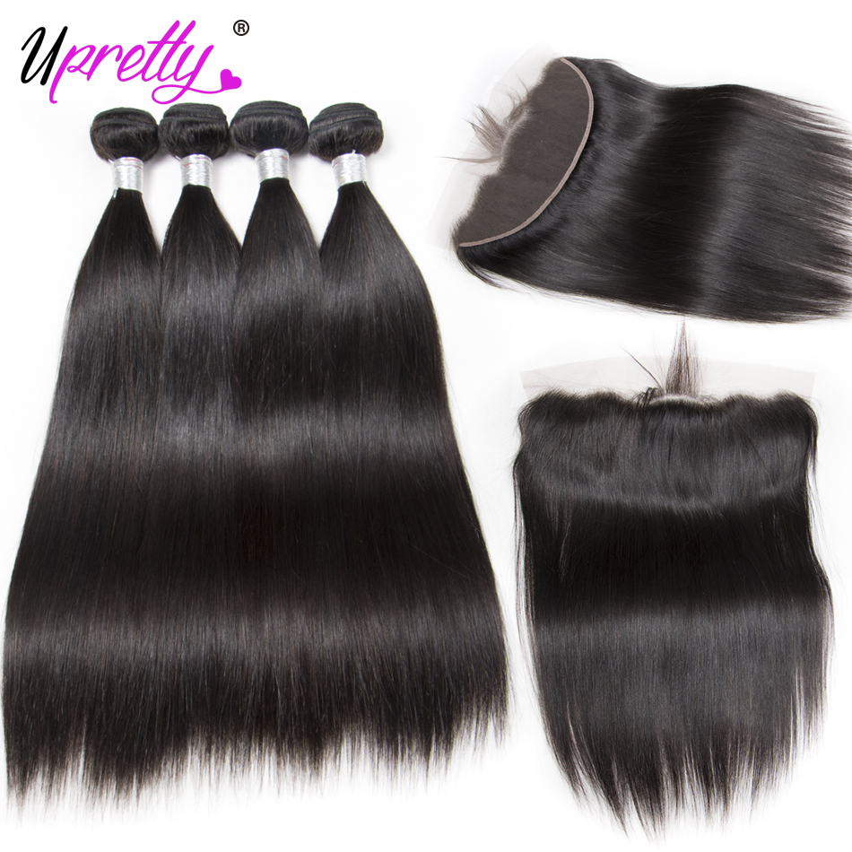 Upretty Hair Peruvian Straight Hair 4 Bundles with Frontal 100% Human Hair Extensions 13 ...