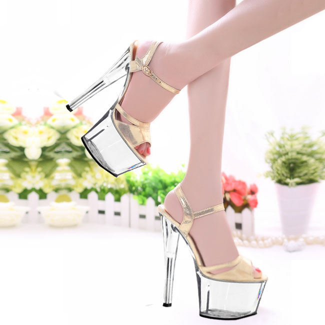 17cm Han edition of high-grade gold flash dress shoes high heels show a fashion show Sandals 2017 han edition of the new fashion women s shoes big yards high heels crystal cool slippers 15cm