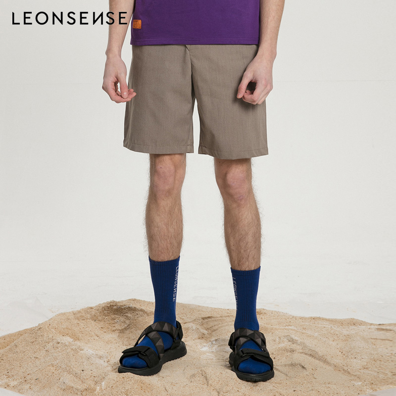 LEONSENSE Designer Mens Clothing Casual Shorts Men Summer Breathable Cargo Short With Button Half Short Trousers Bermuda