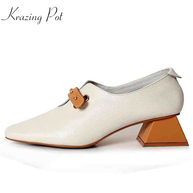 Krazing pot Shoes women fashion full grain leather Neutral square toe preppy style med heels metal rivets buckle rivet shoes L39 3pairs lot ek6 ef6 end supports bearing fixed side ek6 and floated side ef6 match for screw shaft
