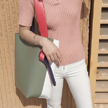 twisted cabas same splicing bump color bucket steamed stuffed bun mother shopping bag leather bag