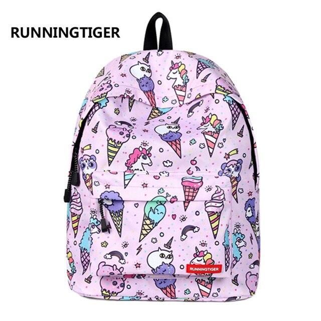 aff73c376 RUNNINGTIGER Children Backpacks Ice Cream Unicorn Women Original Bag School  Bagpack For Teenage Girls mochila feminina