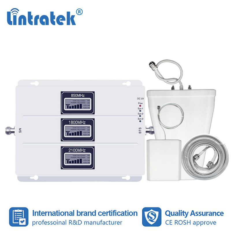Усилитель сигнала Lintratek Tri Band 850 1800 2100 МГц, усилитель сигнала сотового телефона B5/B1/B3, трехрепитер 2G 3g 4G CDMA WCDMA LTE усилитель dcs # fs