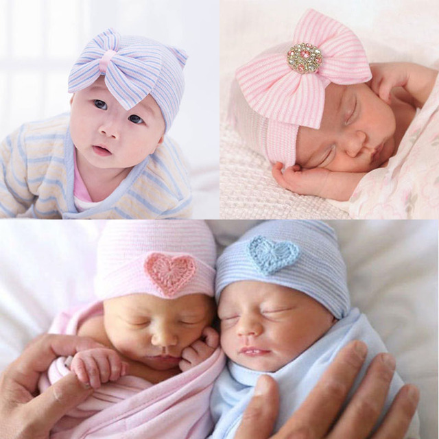1808edb0824 Winter Newborn Infant Baby Bonnet Hat Caps Soft Cotton Striped Baby  Hospital Cap Baby Girls Bowknot Heart Warm Beanie Hat