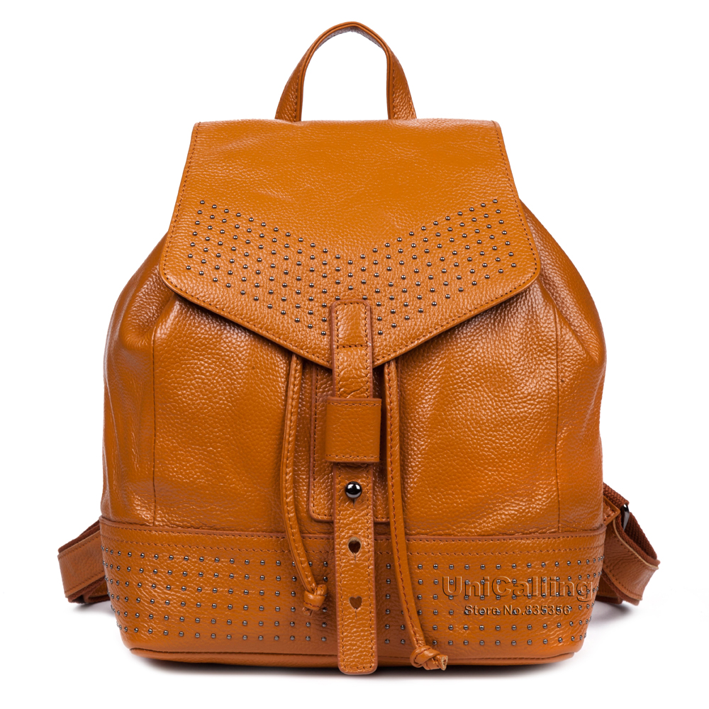 Women backpack high-end cowhide genuine leather female school backpack fashion bucket women travel backpack with cover string
