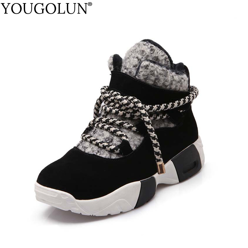 YOUGOLUN Women Ankle Boots Cow Suede 2017 Winter Snow Boots Cross tied Mixed Colors Wedges Black Warm Shoes #Y-001 eiswelt 2017 winter boots female plush ankle snow boots mixed colors comforty shoes wedges platform boots zqs089