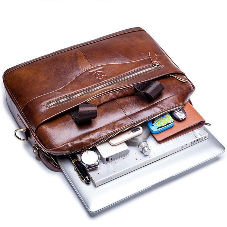 HTB1G4bFavfsK1RjSszgq6yXzpXao Genuine leather men's Briefcase vintage business computer bag fashion messenger bags man shoulder bag postman male Handbags