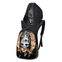 Fashion New Gothic Style Personality 3D leather backpack rivets skull backpack with Hood cap apparel bag cross bags hiphop man