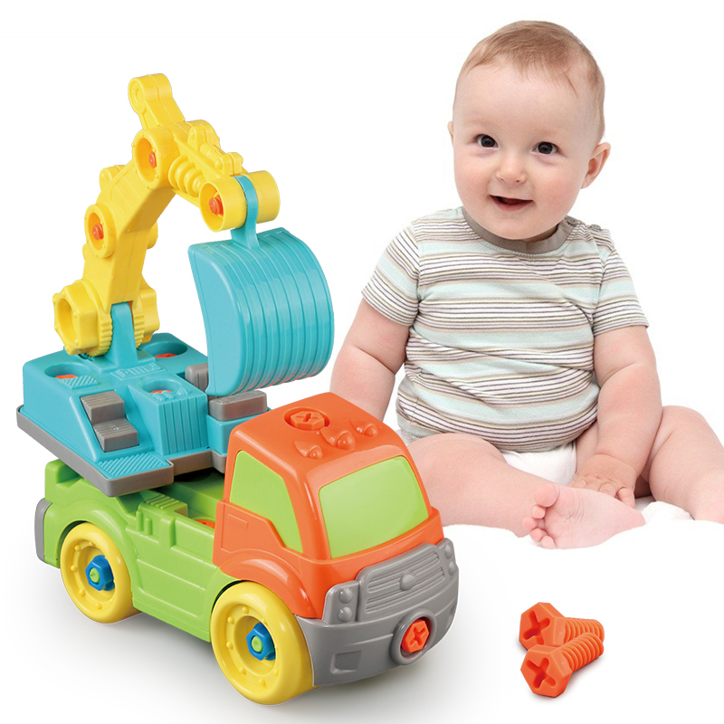 HUAILE Baby Kids Puzzle Educational Toys Disassembly Assembly Cartoon Car Gift Excavating Machinery Boy Toys For Children