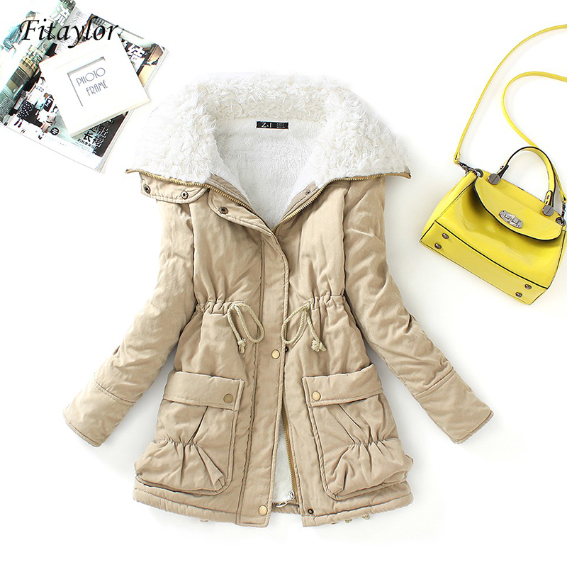 Fitaylor Cotton Coat Jacket Outwear Padded Parkas Snow Warm Thick Winter Women Slim Medium-Long