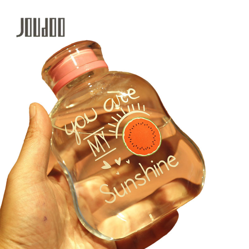 JOUDOO Creative New Summer Fruit Cartoon Printing Borosilicate Glass Color Lid Seal Leak-proof Gift Bottle