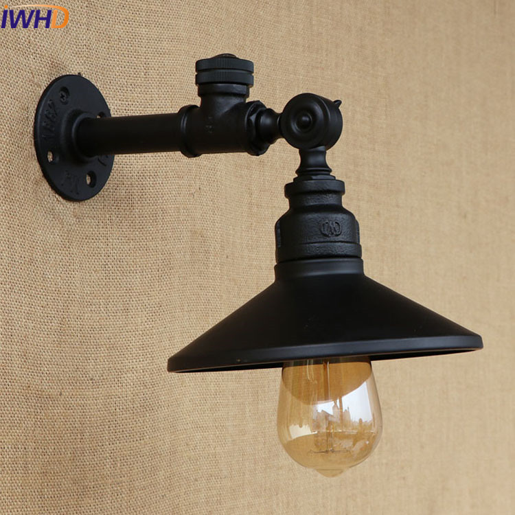 American Loft Industrial Vintage Wall Light Switch 220v Black Iron Water Pipe Lamp Retro Sconces E27 Edison Bulb Lamps edison loft style vintage light industrial retro pendant lamp light e27 iron restaurant bar counter hanging chandeliers lamp