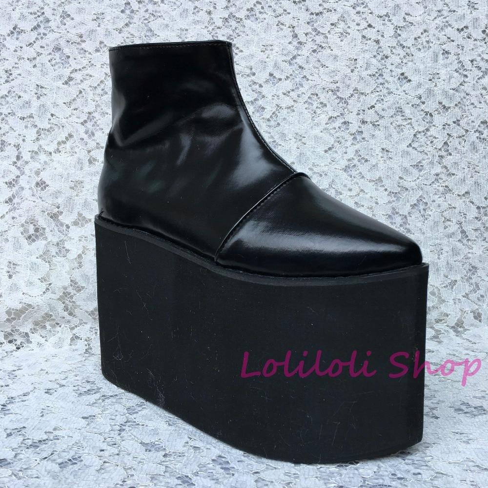Glissière UnTai Personnalisé Chaussures Fond Plate multi Latérale Spécial Noir Grandes Punk Épais forme Noir 1382jn Na PXZuOki