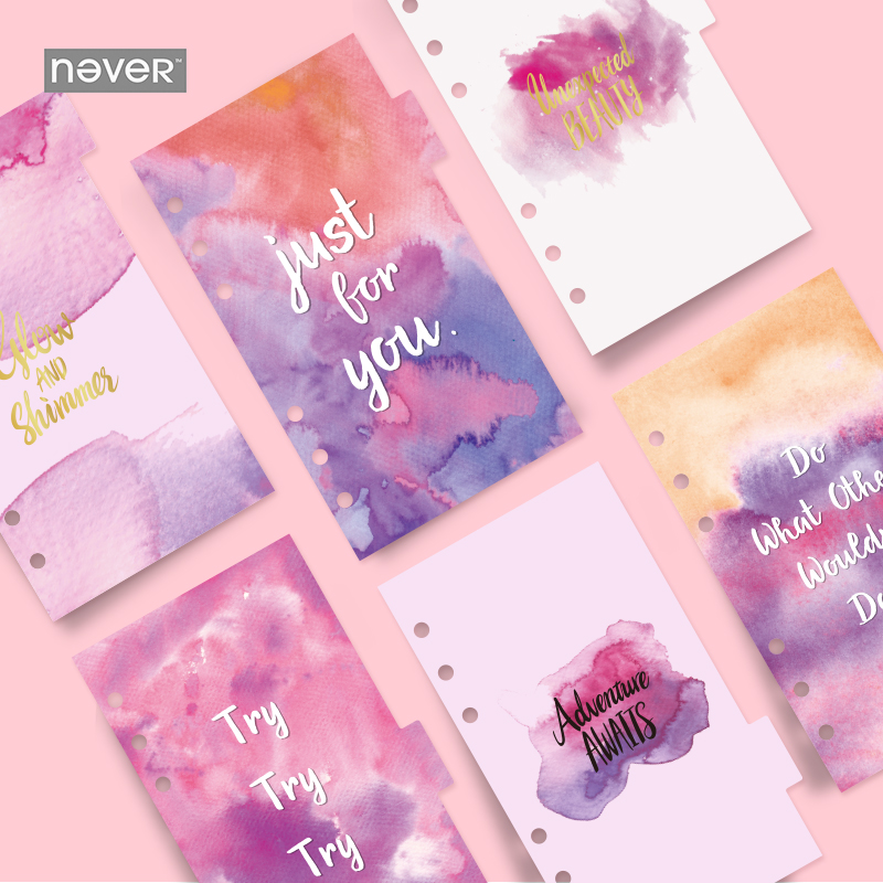 NEVER Korean Spiral Notebook 6 hole loose leaf inside page index page for filofax Planner A6 Dividers bookmark school stationery bon jovi page 9 page 2 page 9 page 6 page 5