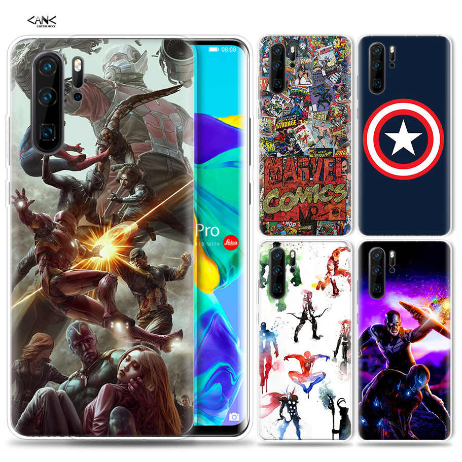 Case for Huawei P30 P20 P10 P9 Mate 10 20 Lite Pro Mobile Cell Phone Bag P Smart Z 2019 Plus Avenger Captain America Iron P8 P30
