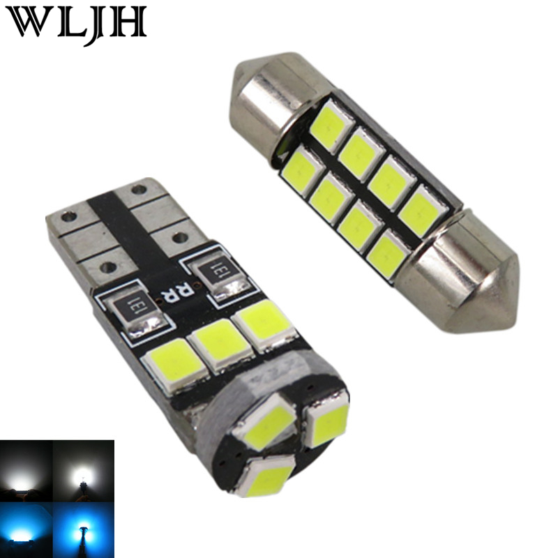 Wljh 7x Ice Blue Pure White 2835 Smd Car Interior Lighting