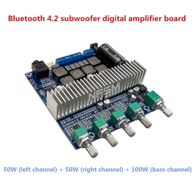 New TPA3116D2 Subwoofer Amplifier Board 2.1 Channel High Power Bluetooth 4.2 Audio Amplifier Board DC12V-24V 2*50W+100W