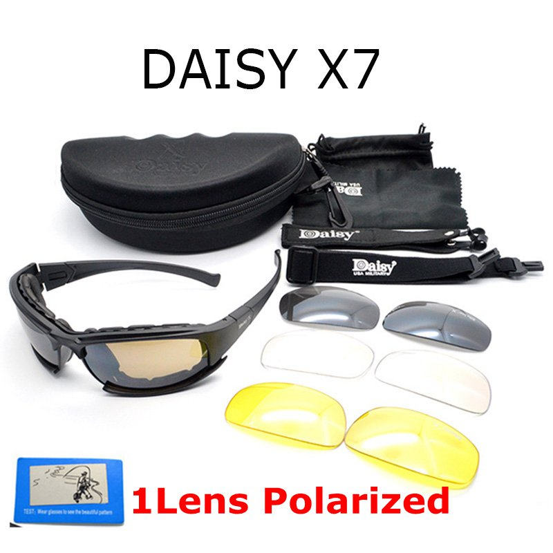 Prix pour Polarisee Daisy X7 C5 Lunettes Armée Désert 4 Lentille, en plein air UV Sport Chasse Militaire lunettes de Soleil Hommes et Femmes, Jeu de guerre Lunettes