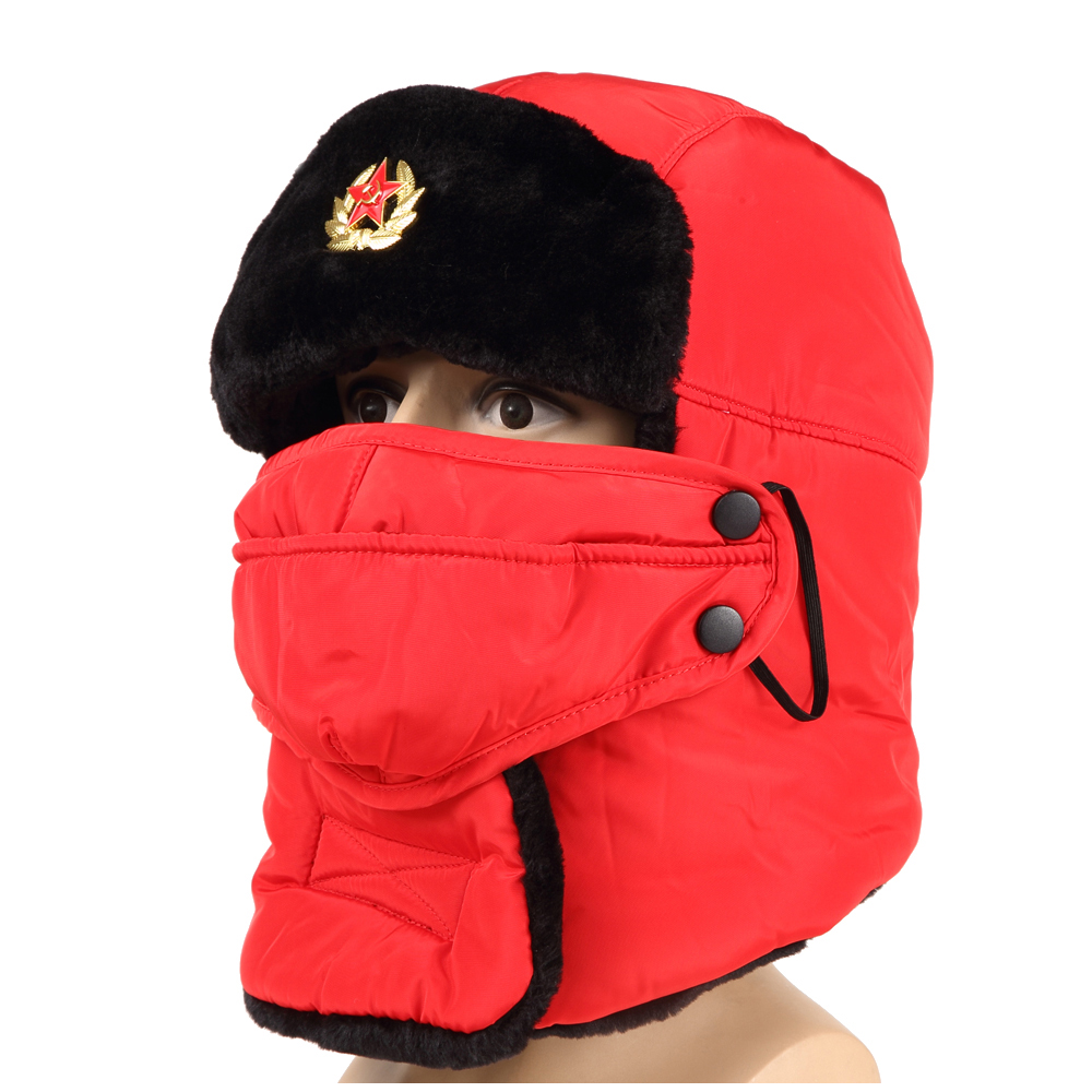 Unisex Soviet Army Russia Ushanka Winter Hiking Hunting Outdoor Bomber Hats  Thicken Balaclava Plush Earflap Thermal Skull Mask-in Bomber Hats from  Apparel ... 2bfdf876a60f