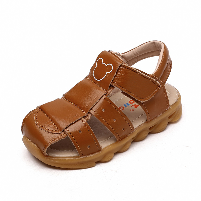 Boys shoes for summer 100% pure leather yellow beef soft bottom boys beach sandals white princess girls shoes children shoes