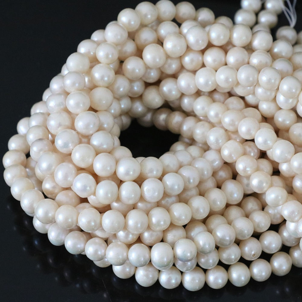 Jewelry & Accessories Natural White Freshwater Cultured Pearl Loose Beads Elegant Women Diy Wholesale Retail Jewelry About Round 15inch B1324 Firm In Structure