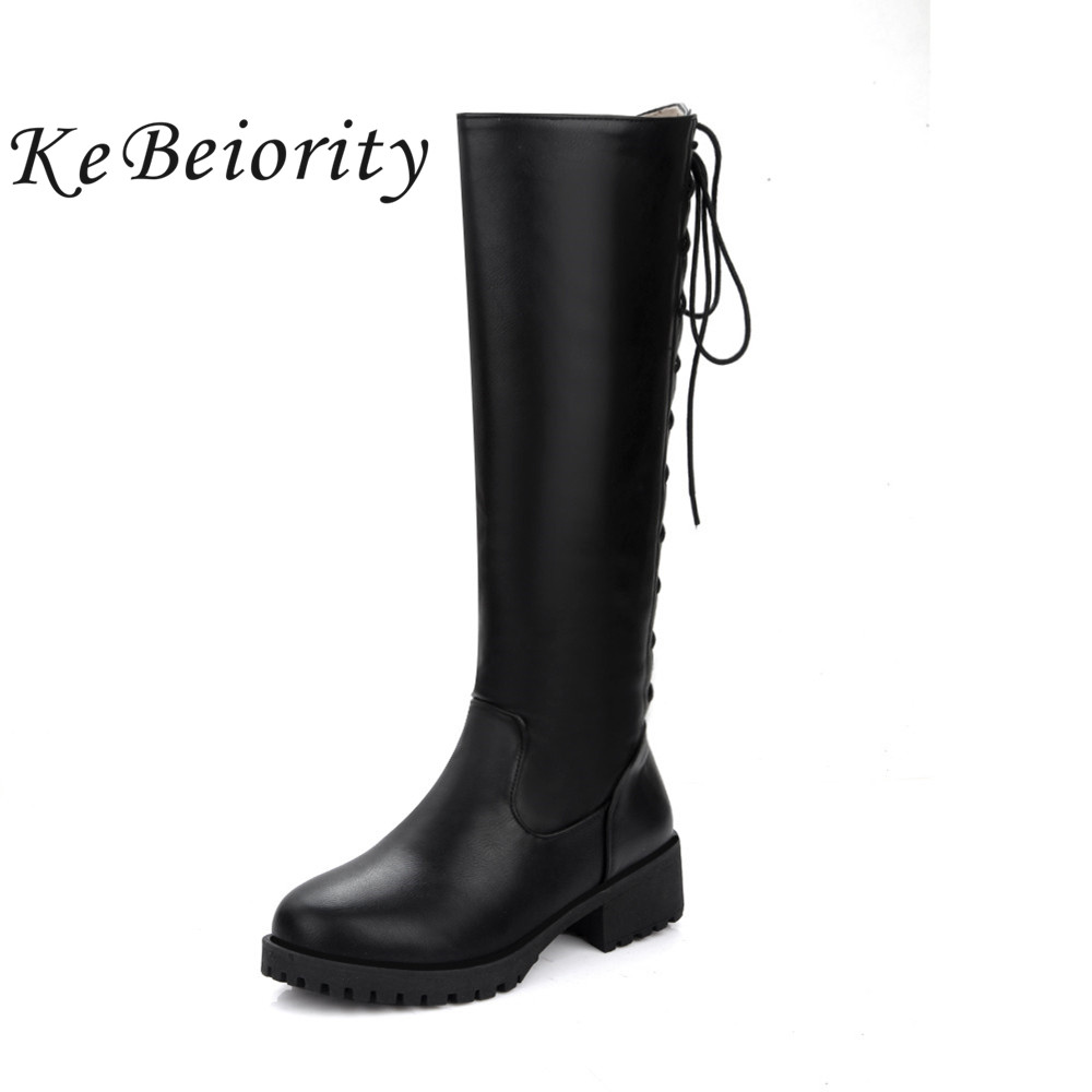 KEBEIORITY Knee High Boots Women Lace Up Square Heel Autumn Winter Boots Black Brown Fashion Chunky Heel Riding Martin Boots enmayla winter autumn high heels lace up knee high boots women shoes sewing green brown black knigh long boots