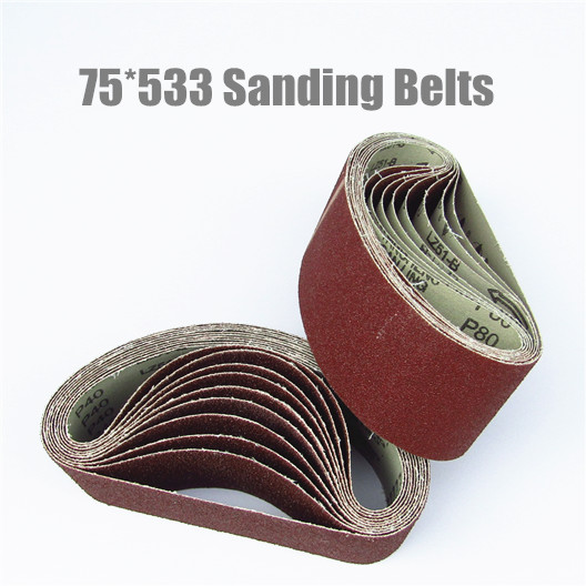 10Pcs 75*533 Sanding Belts 75*533mm Sanding Band 3