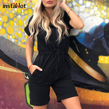 InstaHot Black Hoodies Drawstring Wasit Loose Playsuit Casual Streetwear Short Sleeve Zip Up Sporting Women Autumn Jumpasuit