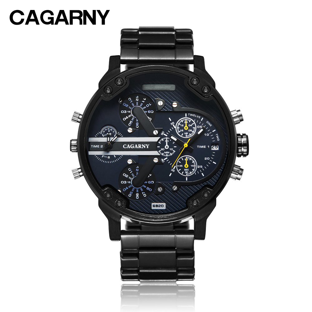 Image 4 - Cool Wrist Watch Men Luxury Brand Cagarny Mens Quartz Watches Waterproof Black Stainless Steel Clock Military relogio masculino-in Quartz Watches from Watches