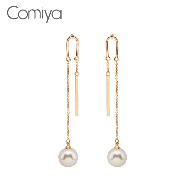 Comiya Long Earring For Women Simulated Pearl Decoration Elegant Drop Earrings Gold Color Zinc Alloy