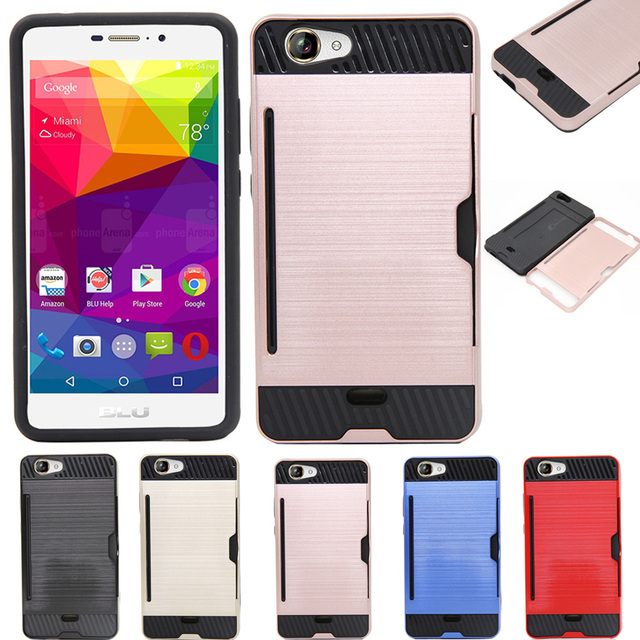 new arrival 273ad 732f6 US $3.49 |2In1 Hybrid Armor Case Hard Aluminum Plated Brush Card Slot Case  Shockproof Silicone PC Card Holder Cover For BLU Life XL 5.5