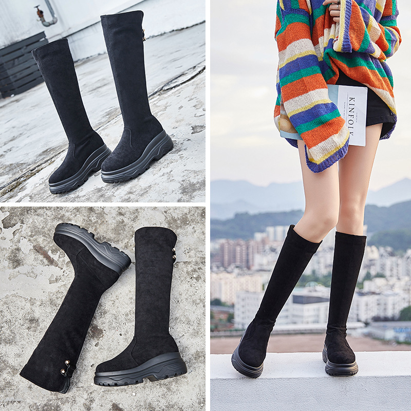 2018 autumn and winter new non-slip over the knee boots wild Korean version of the trend over the knee warm fashion boots.2018 autumn and winter new non-slip over the knee boots wild Korean version of the trend over the knee warm fashion boots.