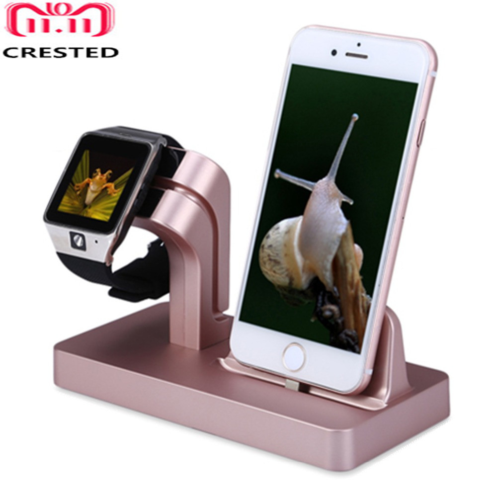 CRESTED Charging Dock Stand Holder For Apple watch series 4/3/2/1 42mm 44mm IPhone X 87 7/8 Plus 6S Plus 2 in 1 charger station