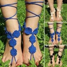 Сексуальные женщины крючком обнаженные обувь босиком кружева ножной браслет вяжет браслет пляж yoga handmade крючком сандалии ног ювелирные изделия 88 @