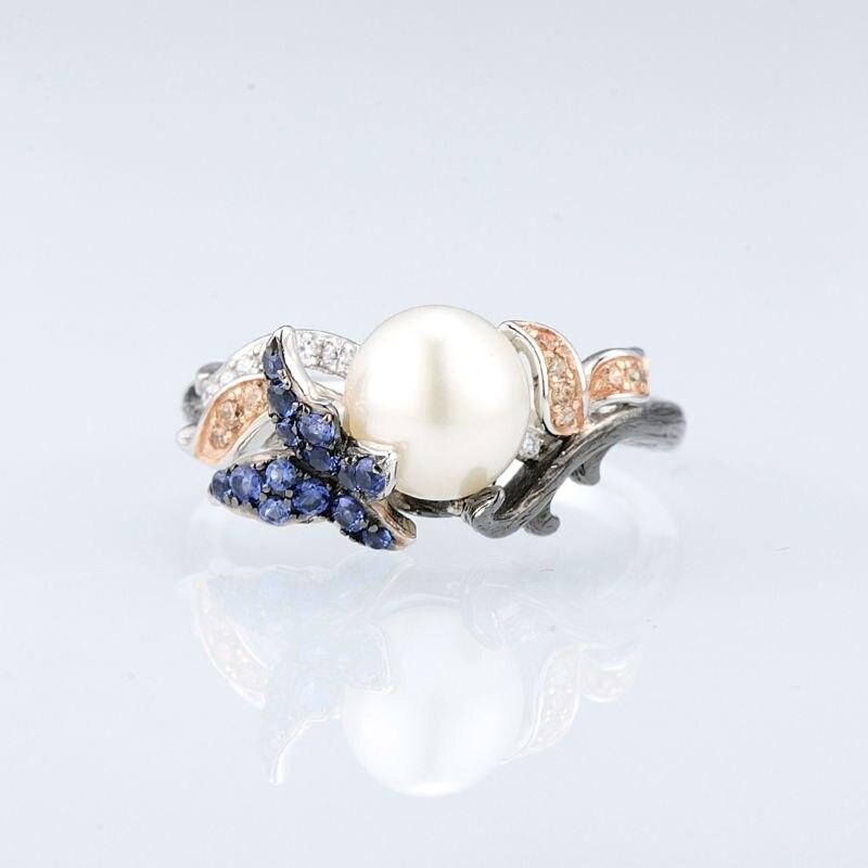 SANTUZZA conjunto de joyas para mujeres de la leyenda del mar de agua dulce blanco perla pendientes de anillo de Plata de Ley 925 Chic conjunto de joyas - 4