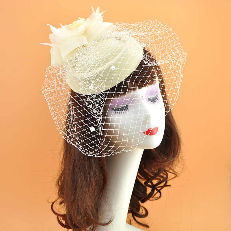 Women Net Hats Ivory Red Black Birdcage Net Hats Bridal Fascinator Face Veils Hats Fedoras with Flower